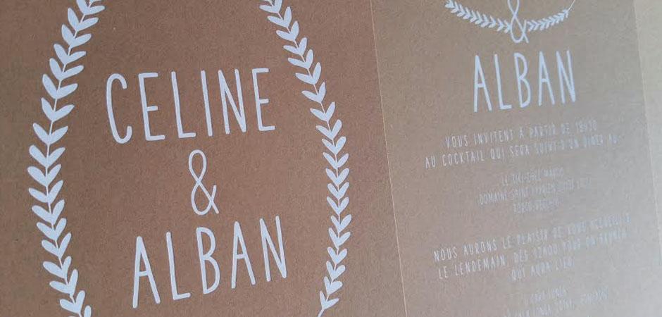 Faire Part Mariage Celine & Alban Carton Kraft
